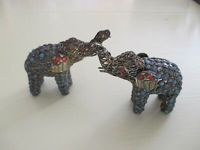 Antique Brass/copper Elephant Pair (2) Beaded Turquoise/coral? Intricate Small