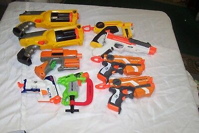 Nerf Gun Lot (9) Dart Tag N-Strike Elite 2 Maverick triad sharpfire firestrike +