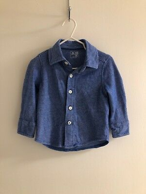 INFANT BOYS BABY GAP BLUE Cotton BUTTON DOWN SHIRT 12-18 Months Toddler