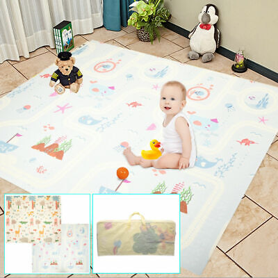2x1.8m Folding Baby Play Mat Reversible XPE Floor Playmat Toddlers Waterproof #2