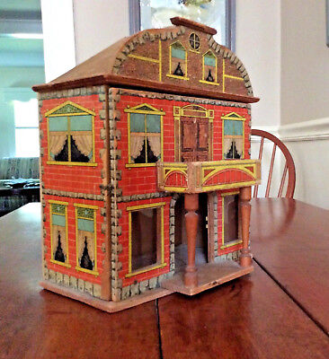 Antique 2 Story Lithograph Dollhouse Bliss American German 1900's