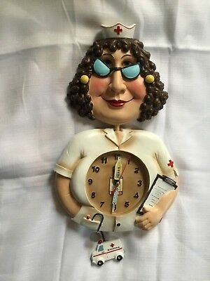 Collectible Whimsical Nurse Wall Clock with Pendulum -New