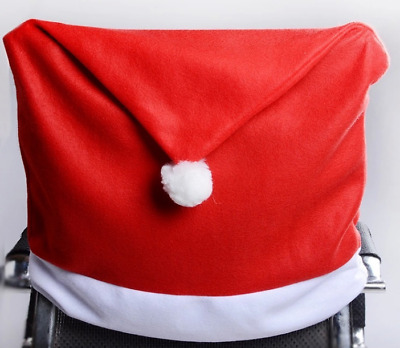Christmas Table Chair Covers Santa Red Hat Set Chair Back Dinner Table Decor #9