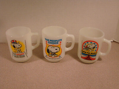Anchor Hocking Snoopy Mug Lot of 3 1980 Collection Peoples Choice, White House