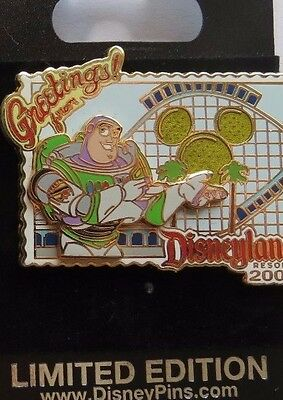 Disney Dlr Greetings From 2006 Toy Story Buzz Lightyear Postcard Le 1000 Pin