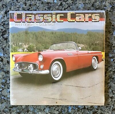"""Classic Cars 12 Month 2018 Wall Calendar 12"""" X 24"""" New Sealed Collectible"""