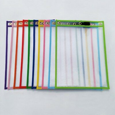 10pcs Dry Erase Pocket Sleeves Resuable Stationery for Students Pupils