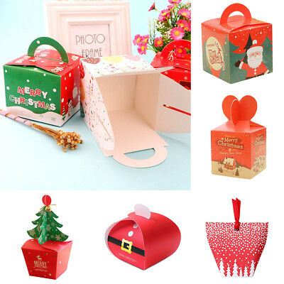 Assemble Merry Christmas Candy Cookie Carrier Paper Gift Box Xmas Festival Favor