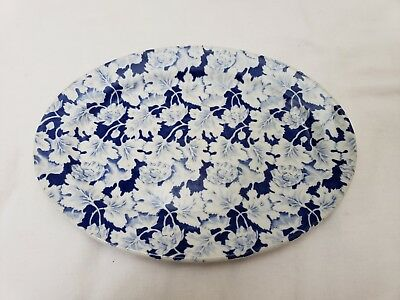"""VINTAGE  MAYER  CHINA  SAUCER  # 253, Blue & White, 11"""" 1/4""""X8"""", Good Condition"""
