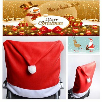 65cm*50cm Christmas Table Chair Covers Set Xmas Red Hat Chair Back Dinner US #7
