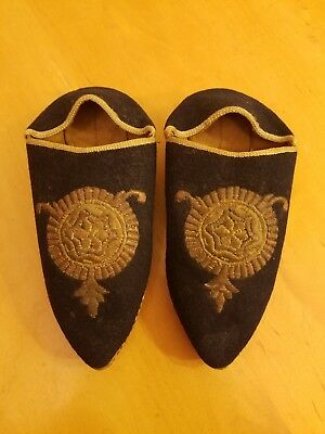 """Vintage Chinese Asian Shoes Cultural Laundry Leather/suede 8"""" Long Museum Rare"""