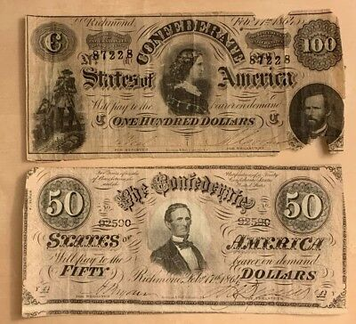 1864 $50 & $100 The Confederate States Of America. Richmond. 2 Notes