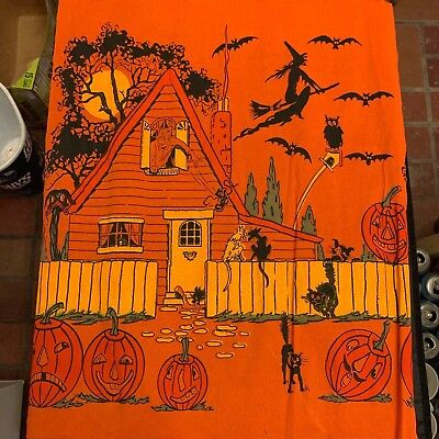 Vintage Perkins Halloween ornamental crepe paper panel 1920s black cat witch jac