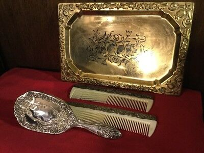 Antique Art Nouveau Sterling Silver Vanity Set, Brush, Combs ~RUSSIAN Brass Tray