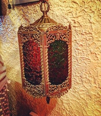 Antique Ornate BRASS & Stained GLASS Hanging LAMP Old PENDANT CHANDELIER