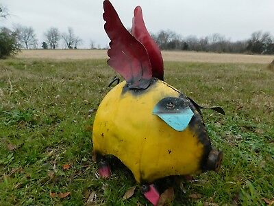 "Mexican Metal Art 16"" Drum Metal Oil Barrel Flying Farm Pig Home Garden Patio"