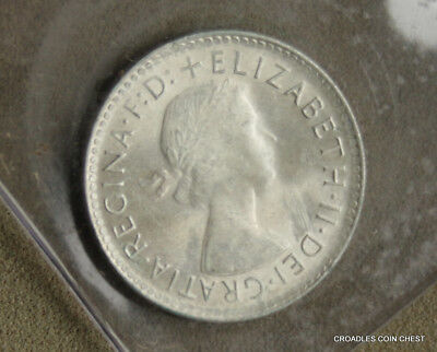 1963 Silver Sixpence Predecimal Coin Weak Uncirculated In Downies Package #by271