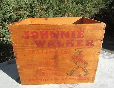 "Vintage Wooden Johnnie Walker ""Red Label Whisky"" Crate"
