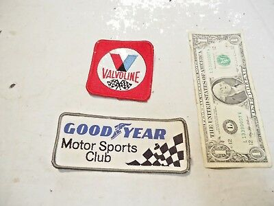 vintage Valvoline & Goodyear Motor Sports Club Shirt Patches - New Never Used