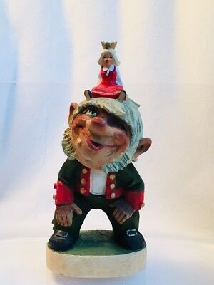 """Rare Vintage Henning Norway Hand Carved Wood 8-5/8"""" Troll w/ Riding Princess"""