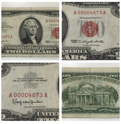 1963 Two Dollar Star Note Red Seal Bill - Low Serial - Fancy Serial # 00004873