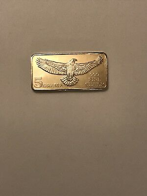 Monarch Struck American Eagle - (5) Gram .999 Fine Solid Silver Bullion Bar