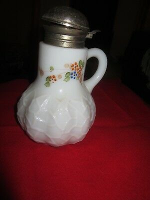 Antique Milk Glass Syrup  Painted Floral Design Syrup Pitcher