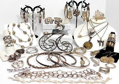 286.2 Grams Vintage All Sterling Silver Jewelry No Stones All Wearable