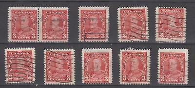 "Canada # 219 "" 3c  King George V ""  Bulk Lot of 10 Used"