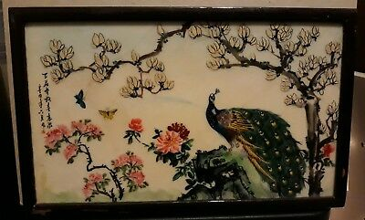 Antique Chinese Hand painted Framed Porcelain Plaque Tile