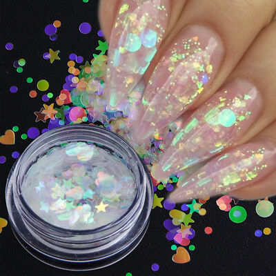 Holo Nail Sequins Holographic Nail Art Glitter Star Heart Flower Flakes Manicure
