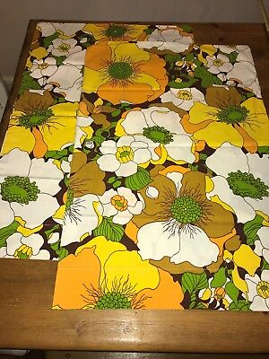 Pair Vintage Percale Yellow Green Brown Mod Floral Standard Pillowcases MCM
