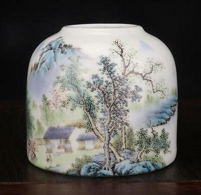 China Hand Made Famille-Rose Porcelain Landscape Brush Wash /guangxu Mark B02