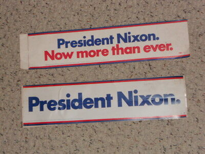 """2 PESIDENT NIXON """"Tricky Dick"""" bumper stickers,late 1960s,early 1970s!"""