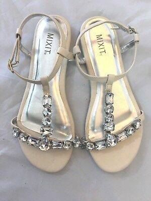 a31bca473f763b MIXIT Women`s Sandals Size 8 White Ankle Strap with Buckle Rhinestones on  Straps