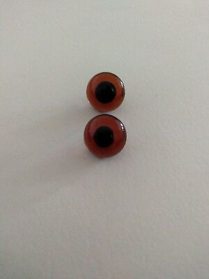 1 pair of topaz coloured 14mm German Glass eyes
