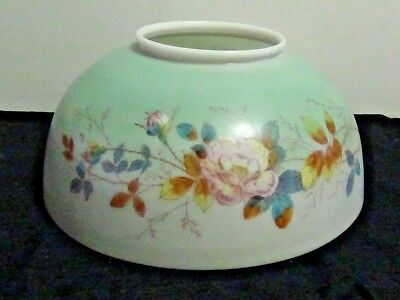 Hanging Oil Lamp Shade Hand Painted Rose/thorns Motif