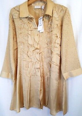 Chico's 2 Gold Nugget Crinkled Crush Roxie Applique Tunic Top Xl 16-18 Nwt