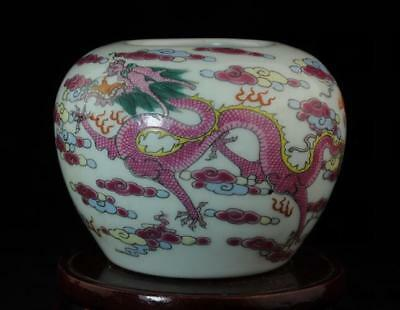China Handmade Famille-Rose Porcelain Hand Painted Pink Dragon Brush Washer B01