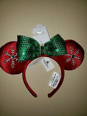 BRAND NEW Disney Parks 2018 Christmas Holiday Red Snowflake Minnie Ears Headband