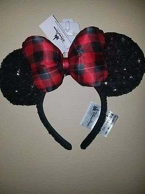 DISNEY Parks Minnie Mouse Plaid Bow Christmas Holiday Sequined Ear Headband 2017