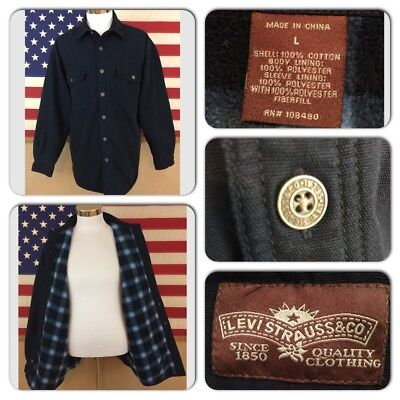 Exc Cond Levis Mens Large Plaid Fleece Lined Metal Button Navy Work Shirt Jacket