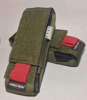 Two CAT / SOFT-T Tourniquet pouch case holders  Olive Drab w RED tab IFAK IPOK