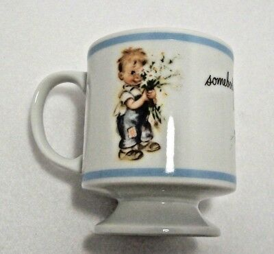 VTG Rust Craft Brownie Collectible Footed Coffee Mug Somebody Loves You Bouquet