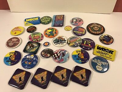 Large Lot Vintage 1980's On The Waterfront Rockford Illinois Pin Buttons