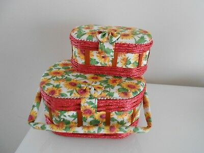Sewing Box / Basket Sun Flower Floral Padded Lid X 2