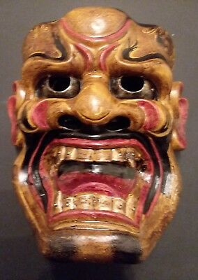 Unique vintage molded mask, Noh type character,  resin, lacquer, Japan