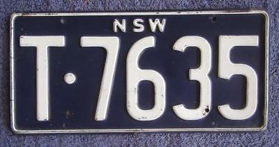 Nsw Taxi License/number Plate # T-7635