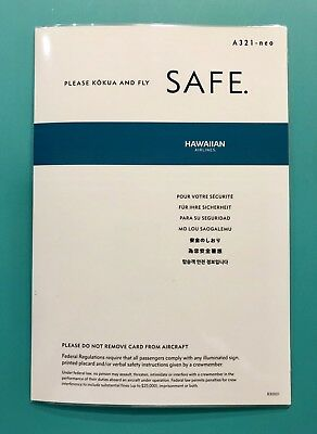 Hawaiian Airlines Safety Card --Airbus 321