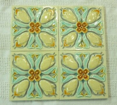 FOUR ANTIQUE 6X6 signed H  MULTICOLORED FLOWERS MAJOLICA TILES
